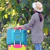 《HDISS》韓版 大容量 提帶可調 可折疊多功能手提/肩背旅行袋 行李袋 行李箱 適用(湖水綠)