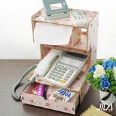 《佶之屋》木質DIY多功能文件電話收納架(粉花)