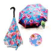 《好雅也欣》雙層傘布散熱專利反向傘-浪漫台三線-山芙蓉系列((藍花))