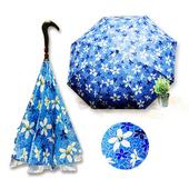 《好雅也欣》雙層傘布散熱專利反向傘-浪漫台三線-客家桐花系列((藍花))