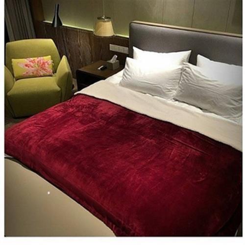 法蘭絨素色雙面加厚暖暖毯(150*200cm-顏色隨機出貨)