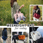 《WEEKEIGHT》韓版 時尚防潑水 旅行袋 單肩包 手提包 斜背包(淺粉色)