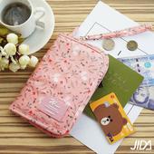 《韓版》多彩繽紛隨身收納手提小包/護照包(粉色)懸掛式多用途網格收納袋