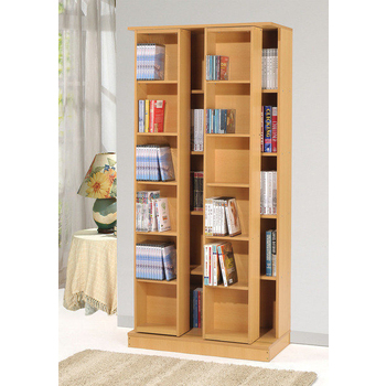 IN 生活 全新日式雙排活動書櫃(木紋色)