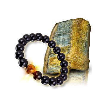 《恩悠數位NU》鈦鍺能量精品 能量珠 佛珠手圈(12mm虎眼珠能量珠手圈-17顆)