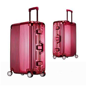 《勝利者》時尚經典26吋鋁框PC鏡面行李箱(買一送二超划算)(紅)