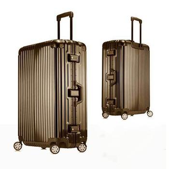 《勝利者》時尚經典26吋鋁框PC鏡面行李箱(買一送二超划算)(鈦金)