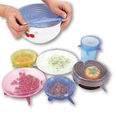 《萬用彈性》矽膠保鮮膜 碗蓋 密封蓋 6入組(直徑6.5~20.5CM)顏色隨機 $149
