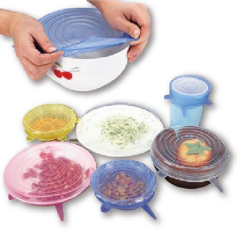 《萬用彈性》矽膠保鮮膜 碗蓋 密封蓋 6入組(直徑6.5~20.5CM)(顏色隨機)