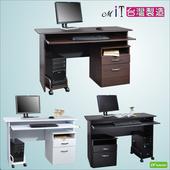 《DFhouse》黑森林附鍵盤電腦桌附主機架+檔案櫃-三色可選(黑色)
