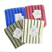 美國棉色紗彩條毛巾 33x76cm/MO764(灰)