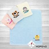 《MORINO》素色貼布繡方巾(藍)