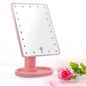 《幸福揚邑》10吋超大22燈LED可翻轉觸控亮度調整美顏化妝桌鏡(粉)