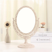 《幸福揚邑》歐式麥稈化妝鏡旋轉放大雙面桌鏡(橢圓米)
