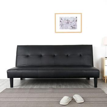 ★結帳現折★Homelike 布魯斯180cm皮質沙發床(摩登黑)
