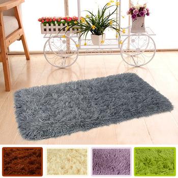 《幸福揚邑》長毛羊絲絨地墊40x60cm防滑吸水超軟舒壓地毯(柔灰)