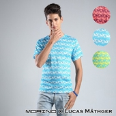 《台灣製MORINO》吸排涼爽印花短袖圓領衫-顏色隨機出貨(MO5214 - M)