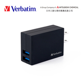 《Verbatim》VB1 2.1A雙孔快速充電器(黑)