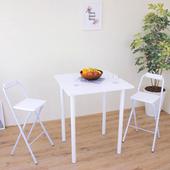 《頂堅》[1桌2椅]方形高腳桌椅組/吧台桌椅組/洽談桌椅組-寬80x高98/公分(二色可選)(素雅白色)