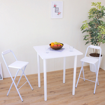 ★結帳現折★頂堅 [1桌2椅]方形高腳桌椅組/吧台桌椅組/洽談桌椅組-寬80x高98/公分(二色可選)(素雅白色)