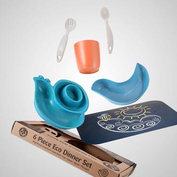 《LET'S GO ECO》【綠色環保、植物玉米製】蝸牛造型兒童餐具組-藍色