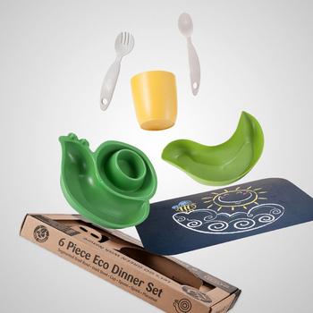 《LET'S GO ECO》【綠色環保、植物玉米製】蝸牛造型兒童餐具組-綠色