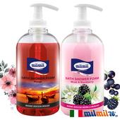 《義大利MILMIL》白麝香黑莓+熱情嫣紅護膚香氛沐浴乳(1+1寵愛組)