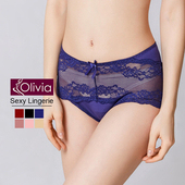 《Olivia》性感蕾絲無痕中腰三角內褲(藍色)(藍色-M)