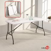邏爵LOGIS-升級版⇧桌面可折多用途152*76塑鋼折合桌/露營桌/展示桌/會議桌CZ152Z(白色)