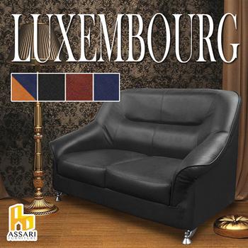 ★結帳現折★ASSARI 盧森堡雙人皮沙發(橘+藍)