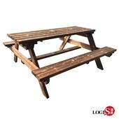 《LOGIS》LOGIS-多用原木庭園桌椅 啤酒桌 戶外桌椅 烤肉桌 BBQ 露營桌【12BEER】(原木)
