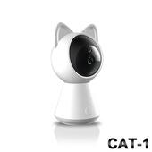 《Uta》御守貓真1080P無線網路智慧旋轉監視機Cat-1(高階版)(白貓款)