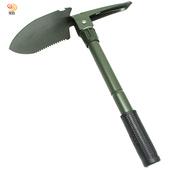 《月陽》5合1高碳鋼摺疊式圓鍬鏟子鋸子工兵鏟帶指南針(SC650)(黑色)