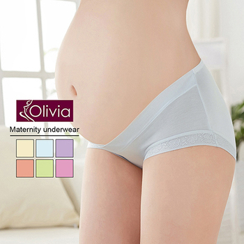 《Olivia》前交叉V款低腰後高舒適孕婦內褲(淺藍)(淺藍-M)