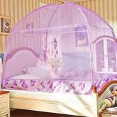 三開門蕾絲蒙古包蚊帳雙人款-150*200*170cm(紫)