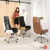 邏爵LOGIS-現代時尚主義主管椅 辦公椅/電腦椅/事務椅 BA80(胡桃色木紋)