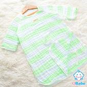 《QBabe》六層紗條紋日式長袖防踢被(40x62)(綠色條紋)