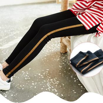 《EVEON》時尚側邊直條紋修身顯瘦純棉打底褲內搭褲(金蔥條紋)