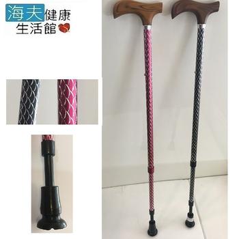海夫健康生活館 專利自調整 避震杖頭 炫彩雷雕杖身 11段伸縮手杖 登山杖(黑/紅)(黑色)