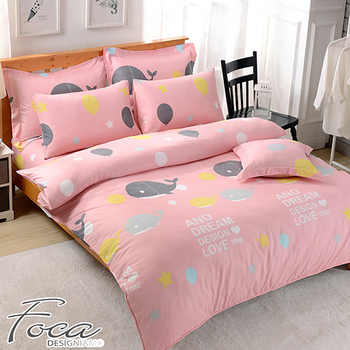 《FOCA》【FOCA 漁趣】頂級活性印染100%雪絨棉(單人薄床包枕套二件組)