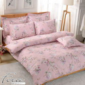 《FOCA》【FOCA 含花弄影】頂級活性印染100%雪絨棉(雙人薄床包枕套三件組)