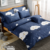 《FOCA》【FOCA 歡喜雲】頂級活性印染100%雪絨棉(雙人薄床包枕套三件組)