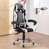 LOGIS- KLV戰地皮面電競椅/白黑 電腦椅 主管椅 賽車椅 皮椅 須組裝【DIY-WE919】(黑白色)