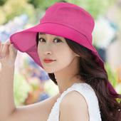 《幸福揚邑》清爽優雅抗UV護頸大帽檐可捲收露馬尾遮陽帽(玫紅)