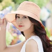 《幸福揚邑》清爽優雅抗UV護頸大帽檐可捲收露馬尾遮陽帽(粉)