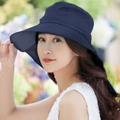 《幸福揚邑》清爽優雅抗UV護頸大帽檐可捲收露馬尾遮陽帽(深藍)