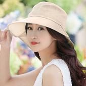 《幸福揚邑》清爽優雅抗UV護頸大帽檐可捲收露馬尾遮陽帽(卡其)