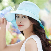 《幸福揚邑》清爽優雅抗UV護頸大帽檐可捲收露馬尾遮陽帽(淺藍)