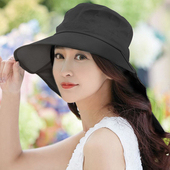 《幸福揚邑》清爽優雅抗UV護頸大帽檐可捲收露馬尾遮陽帽(黑)