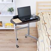《頂堅》耐重型-活動式床邊桌/餐桌/電腦桌(附四個工業用輪子)-三色可選(深胡桃木色)